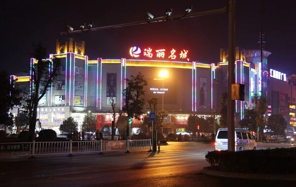LED night view lighting project in large shopping mall
